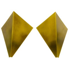 Pair of Extraordinary Triangle Brass Sconces by Bankamp, Germany, 1960s