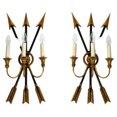 Pair of Extravagant Large Italian 3-Armed Mid Century Wall Lights by Palladio