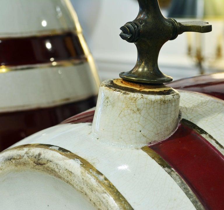 Pair of Eye-Catching 19th Century English Glazed Ceramic Liquor Barrels For Sale 5