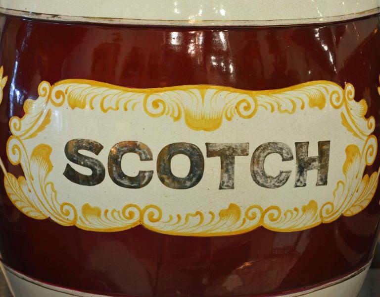 Brass Pair of Eye-Catching 19th Century English Glazed Ceramic Liquor Barrels For Sale