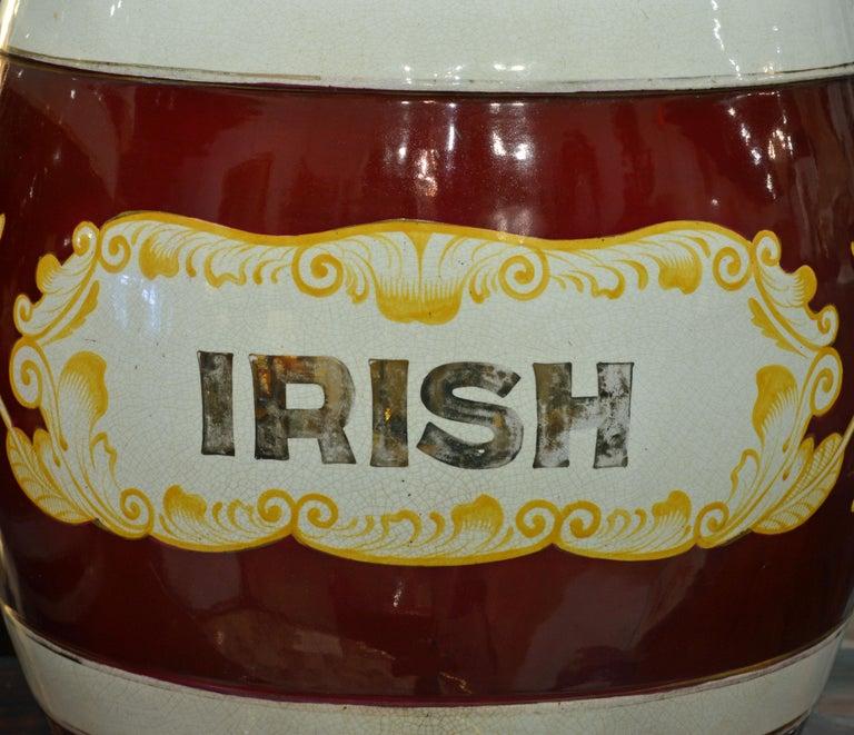 Pair of Eye-Catching 19th Century English Glazed Ceramic Liquor Barrels For Sale 1