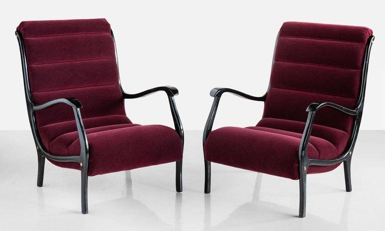 Pair of Ezio Longhi bentwood armchairs, Italy, circa 1960.  Designed by Ezio Longhi for Elam. Newly upholstered in Maharam Alpaca velvet.