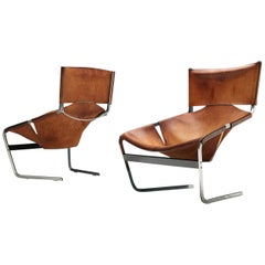 'F-444' Easy Chair in Cognac Leather by Pierre Paulin