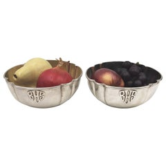 Pair of F. Novick Handwrought Sterling Silver Bowls in Arts & Crafts Style