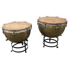 Pair of F. Van Cauwelaert 19th Century Belgian Timpani Drums and End Tables