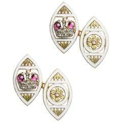 Pair of Faberge Ruby, Rose Diamond and Enamel Cufflinks