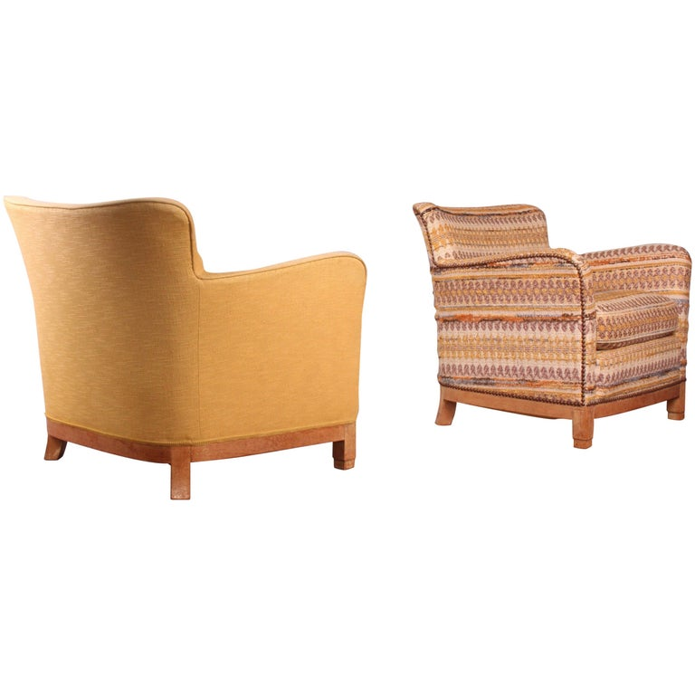 Pair of Fabric Armchairs For Sale