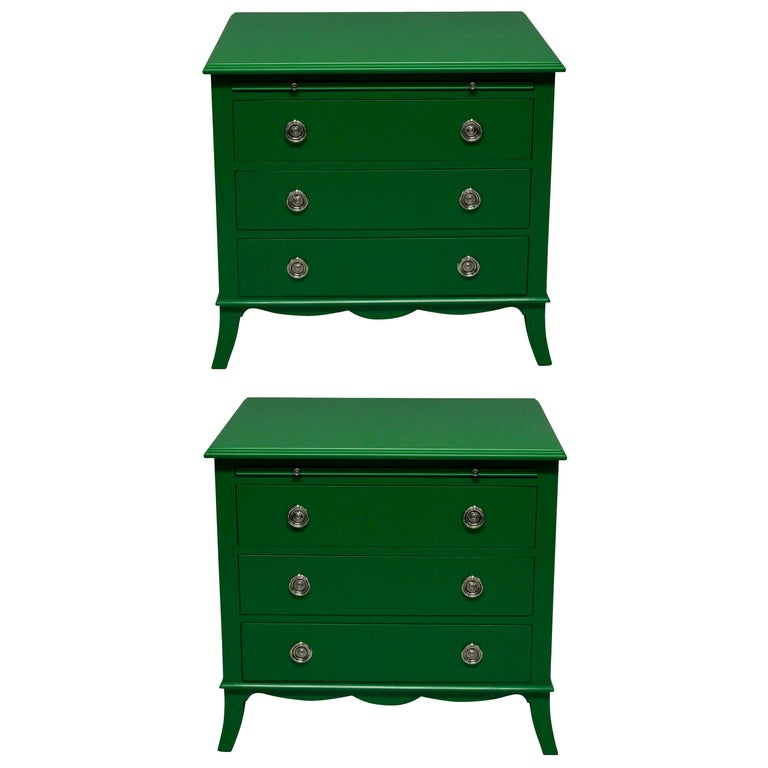 Pair of Fabulous Green Lacquered Chests in the Manner of Dorothy Draper