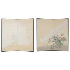Pair of Fabulous Japanese White Peacock Two-Fold Folding Screen Room-Dividers