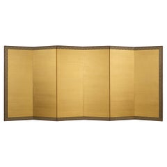 Pair of Fabulous Shiny Japanese Gold-Leaf Six-Panel Folding Screen Room-Dividers