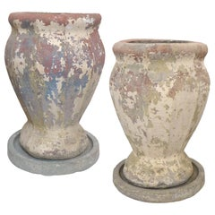 Pair of Faceted Cast Stone Planters