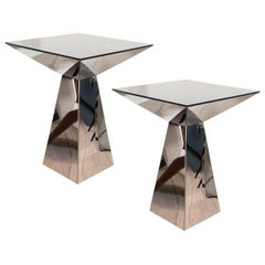 Pair of Faceted Chrome Tables