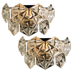 Pair of Faceted Crystal and Chrome Sconces by Kinkeldey, Germany, 1970s