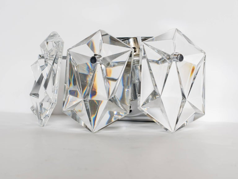 Austrian Pair of Faceted Crystal Petite Sconces Designed by Kinkeldey, 1960s For Sale