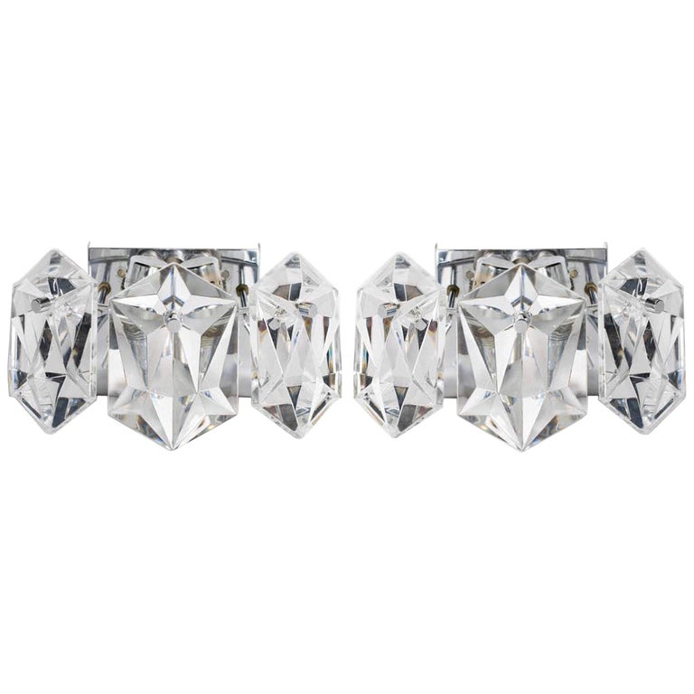 Pair of Faceted Crystal Petite Sconces Designed by Kinkeldey, 1960s For Sale