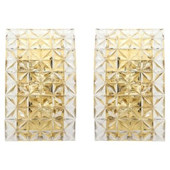 Pair of Faceted Crystal Sconces by Kinkeldey