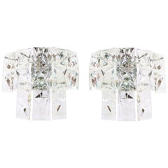 Pair of Faceted Crystal & Chrome Wall Sconces by Kinkeldey, Germany 1960s