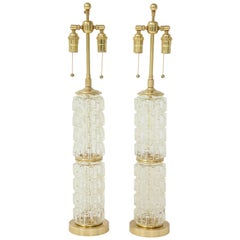 Pair of Faceted Glass Lamps