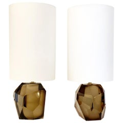 Pair of Faceted Murano Translucent Smoked Glass Table Lamps, in Stock