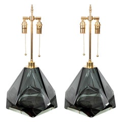Pair of Faceted, Pyramidal Murano Glass Lamps