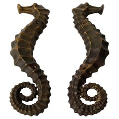 Pair of Facing Seahorse Bronze Door Handles