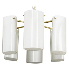 Pair of Fagerhult Semi Flush Mount Opaline Glass and Brass, Sweden, 1960