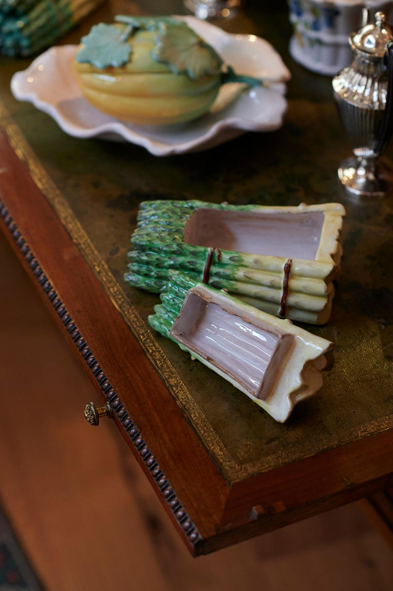 Rococo Pair of Faience Asparagus Bundles, France, 18th For Sale