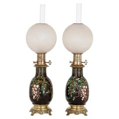 Pair of Faience Oil Lamps, Attributed to Vieillard & Cie