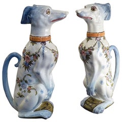 Pair of Faience Pitchers, Sitting Greyhound, Saint Clement, France, circa 1900