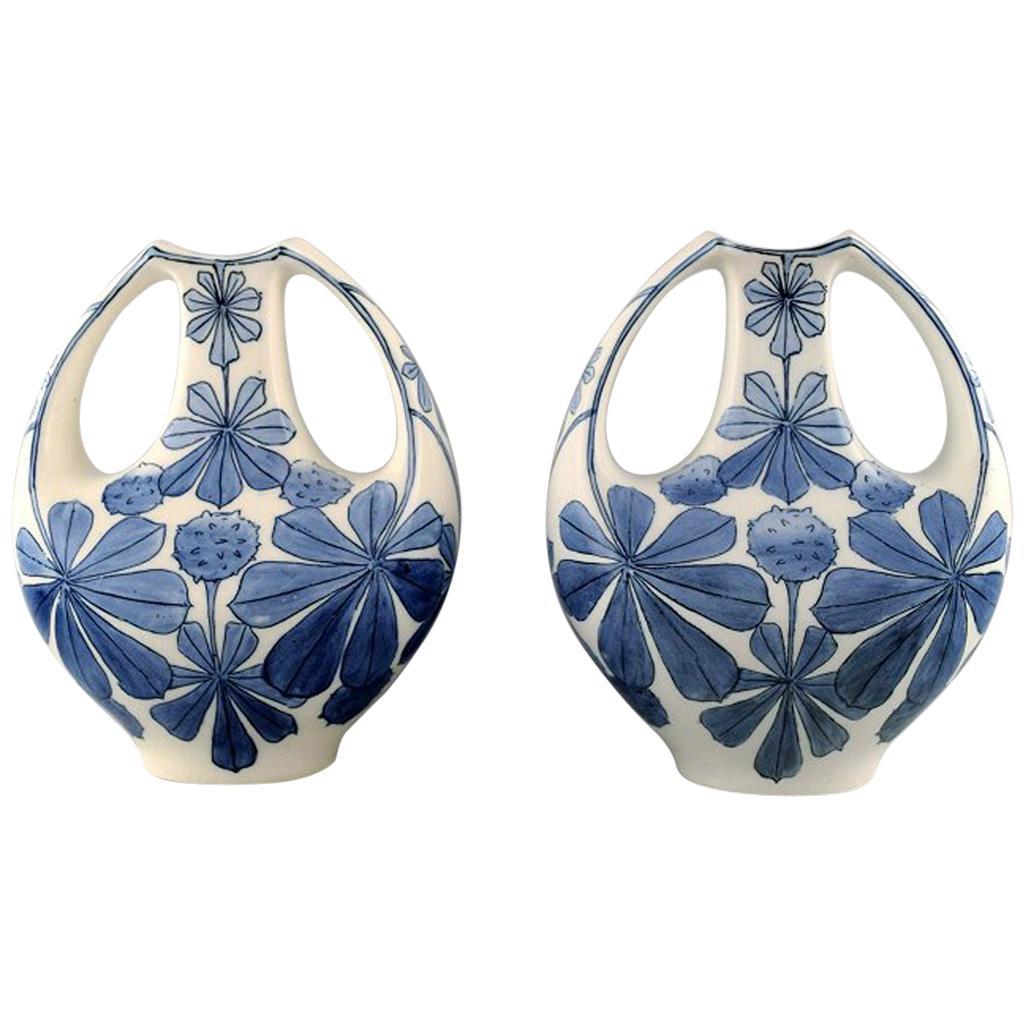 Pair of Faience Vases, Art Nouveau. Design by Alf Wallander for Rörstrand