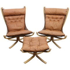 Pair of Falcon Chairs with Ottoman by Sigurd Ressell, 1970s