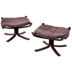 """Pair of """"Falcon"""" Ottomans by Sigurd Ressell for Vatne Möbler, 1970s"""