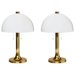 Pair of Falkenbergs Table Lamps with Brass Foot and White Plexi Shades