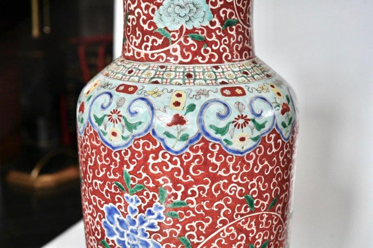 20th Century Pair of Familie Rose Porcelain Lamps For Sale