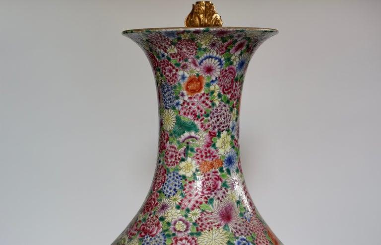 Pair of Familie Rose Porcelain Lamps For Sale 1