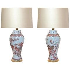 Pair of Familie Rose Porcelain Lamps