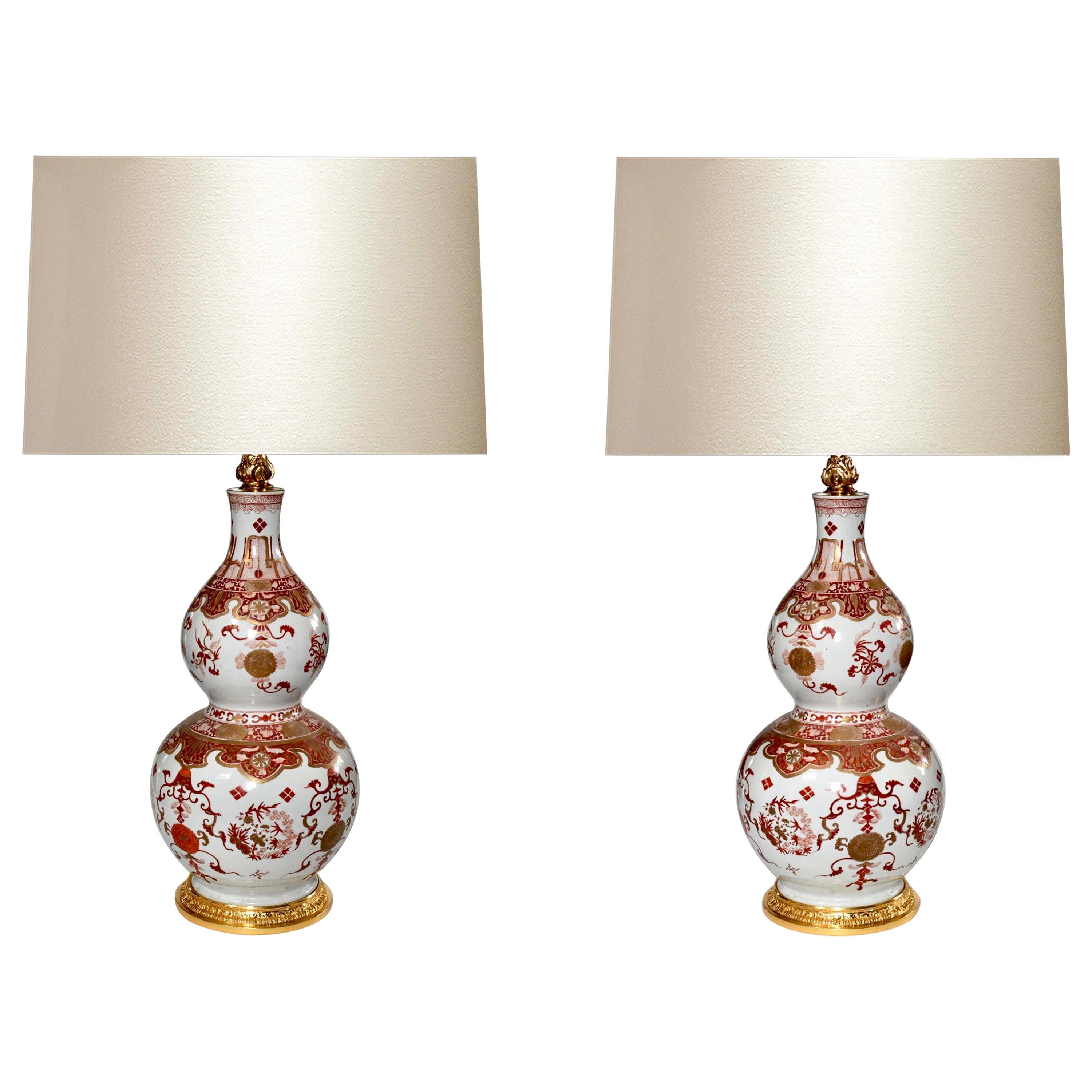 Pair of Famille Rose Porcelain Lamps