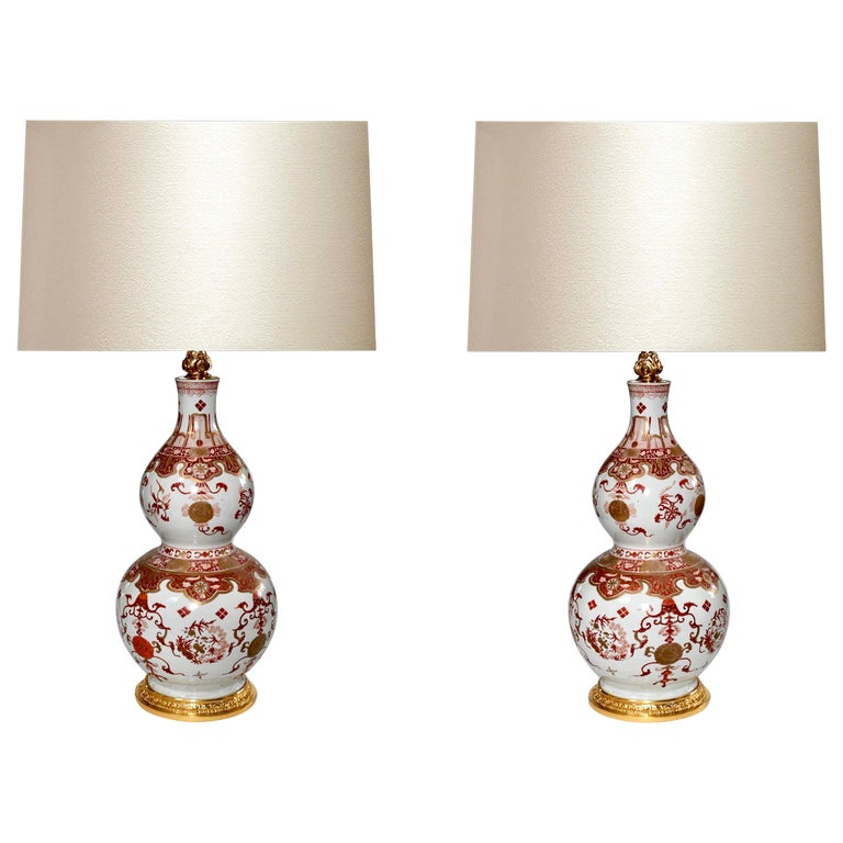Pair of Famille Rose Porcelain Lamps For Sale