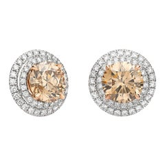 Pair of Fancy Brown Diamond Double Halo Earrings of 2.58 Carat