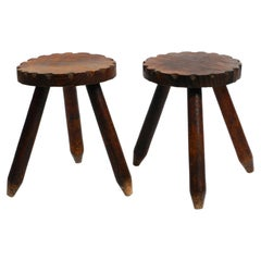 Pair of Fancy Mid Century Tripod Stools Made of Pine Wood, Stained Dark Brown