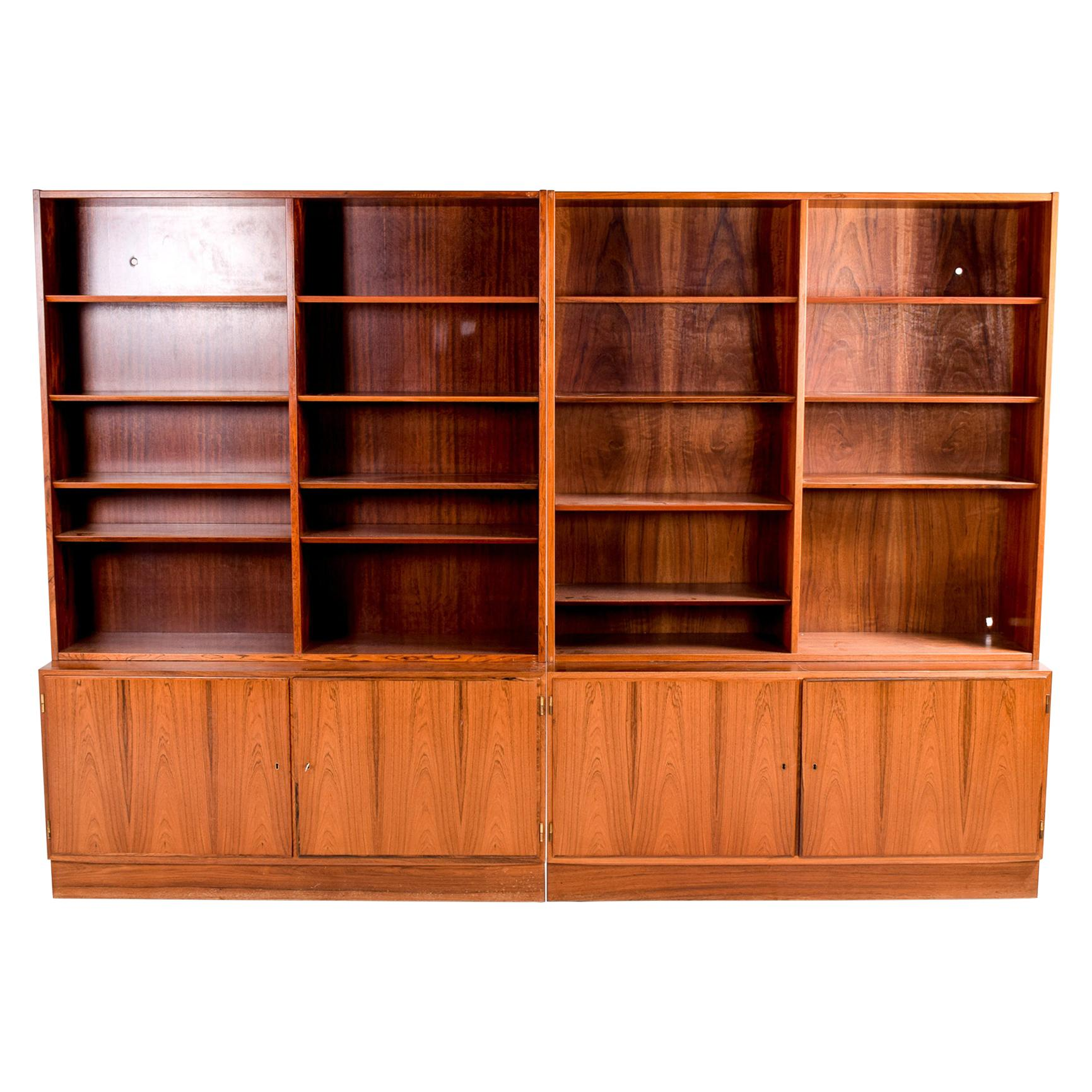 Pair of Fantastic Danish Modern Rosewood Bookcase Unit, 1960