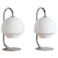 Pair of Fase Chrome and Glass Table Lamps