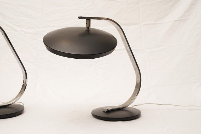 Pair of Fase Mid-Century Modern Adjustable Desk Lamps, Spain In Good Condition For Sale In Nantucket, MA