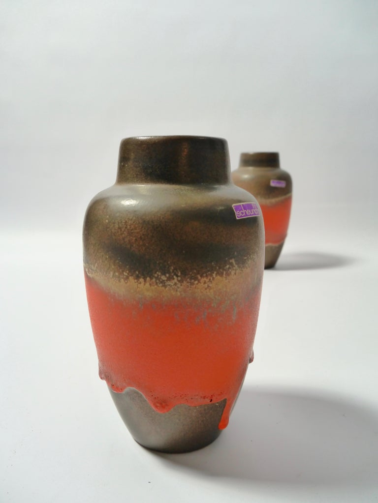 Mid-Century Modern Pair of Fat Lava Ceramic Vases by Scheurich, West Germany, 1960s For Sale