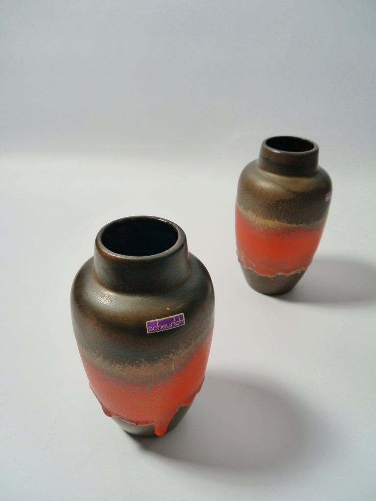 Glazed Pair of Fat Lava Ceramic Vases by Scheurich, West Germany, 1960s For Sale