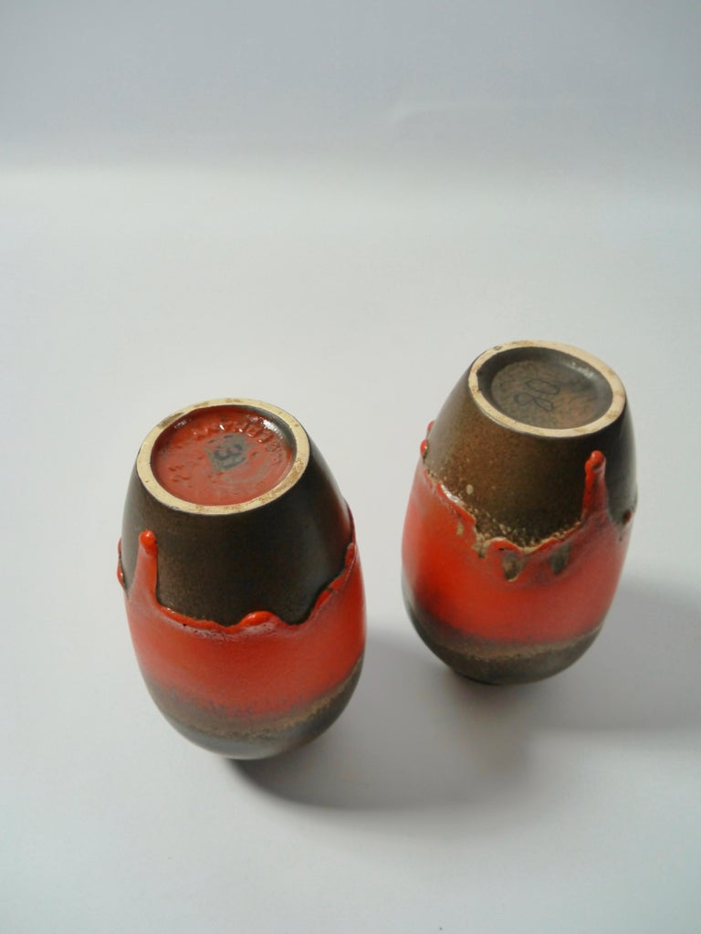 Pair of Fat Lava Ceramic Vases by Scheurich, West Germany, 1960s In Good Condition For Sale In Barcelona, ES