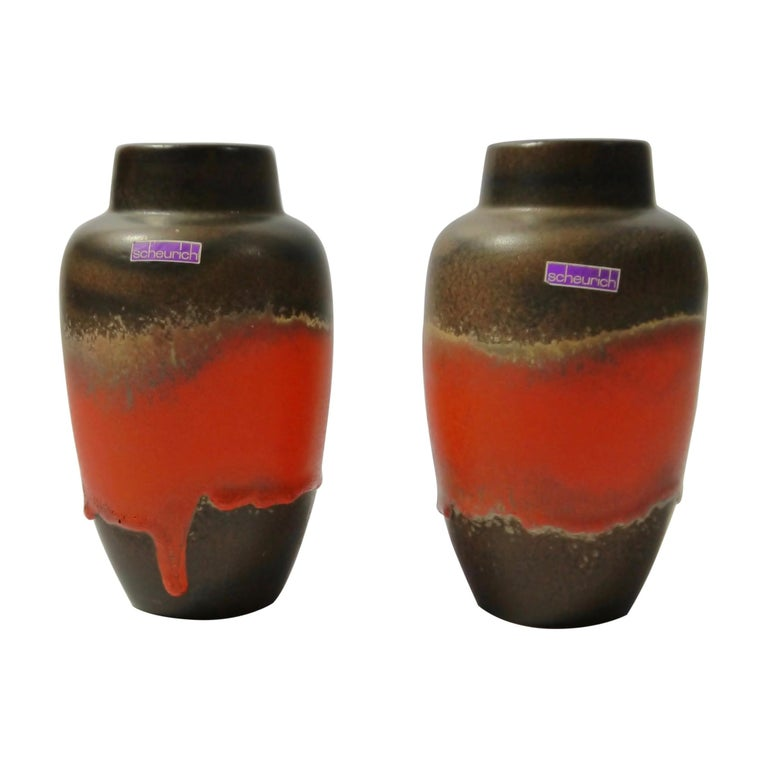 Pair of Fat Lava Ceramic Vases by Scheurich, West Germany, 1960s For Sale