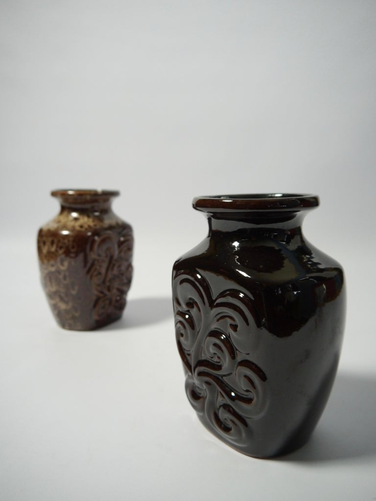 Glazed Pair of Fat Lava German Pottery Vases by Strehla, East Germany, 1960s For Sale