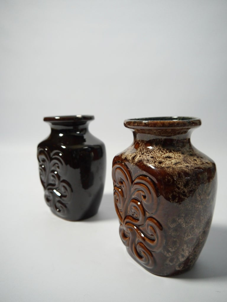 20th Century Pair of Fat Lava German Pottery Vases by Strehla, East Germany, 1960s For Sale