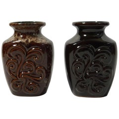 Pair of Fat Lava German Pottery Vases by Strehla, East Germany, 1960s